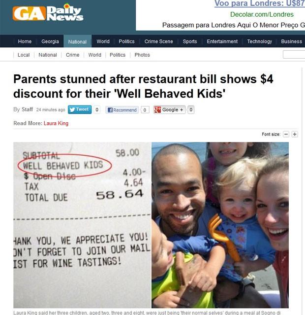Casal recebeu desconto de US$ por conta do bom comportamento dos filhos (Foto: Reprodução)