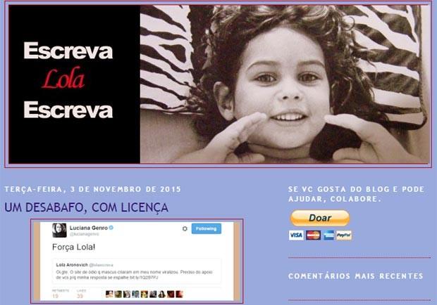 """O blog """"Escreva Lola Escreva"""" e o desabafo feito pela professora, que recebeu o apoio da deputada Luciana Genro (Foto: Reprodução)"""