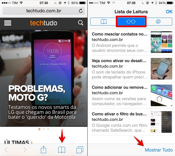 Acessando a lista de leitura do iOS (Foto: Reprodução/Helito Bijora)