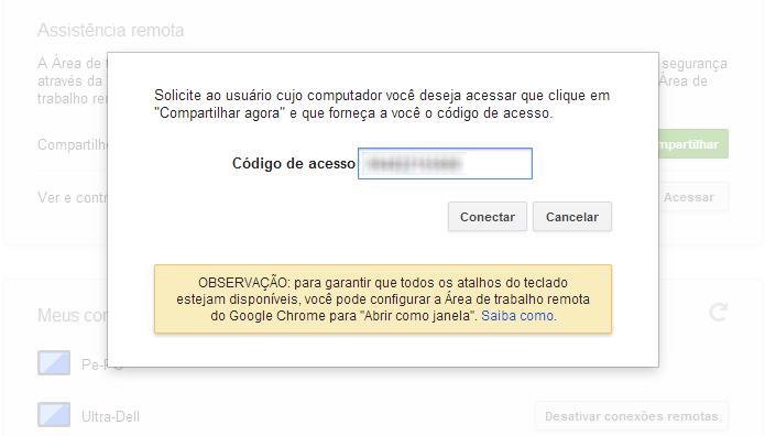 Insira o código de acesso do PC que você vai controlar (Foto: Reprodução/Paulo Alves)
