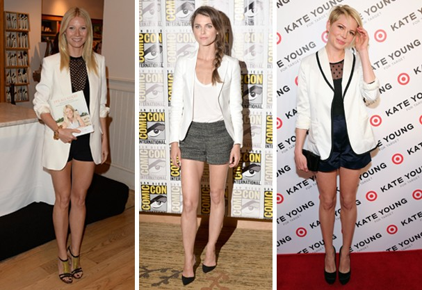 Gwyneth Paltrow, Keri Russel e Michelle Williams usaram o blazer com shortinho (Foto: Getty Images)