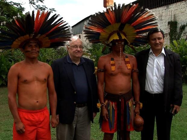 Bisnetos de Marechal Rondon e de Theodore Roosevelt participaram de evento em Cuiabá. (Foto: Reprodução/ TVCA)