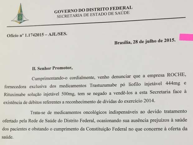 Trecho de ofício enviado pela Secretaria de Saúde do Distrito Federal ao Ministério Público (Foto: Secretaria de Saúde/Divulgação)
