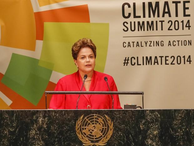 A presidente Dilma Rousseff, durante discurso na conferência da ONU sobre mudanças climáticas (Foto: Roberto Stuckert Filho / PR)