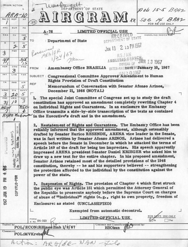 Relatório enviado da embaixada de Brasília informa sobre tramitação de proposta no Congresso para alterar trecho da Constituição sobre direitos e garantias individuais (Foto: Reprodução/Department of State/Comissão da Verdade)