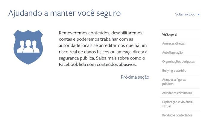 O Facebook quer manter seus usuários seguros (Foto: Reprodução/Camila Peres)