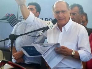 Governador Geraldo Alckmin participa da cerimônia de inauguração do Corredor Metropolitano de Guarulhos (Foto: Tatiana Santiago/G1)