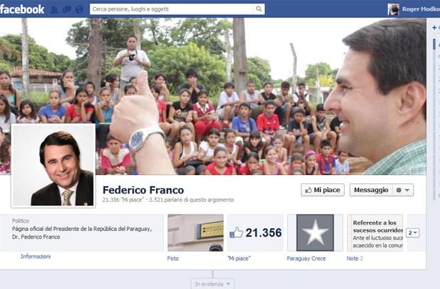 Fã page de Federico Franco no Facebook, atualizada neste sábado (23) (Foto: Reprodução)