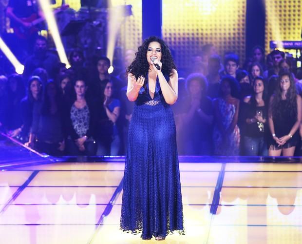 Ana Lonardi emociona durante sua apresentação no primeiro Tira-Teima (Foto: Isabella Pinheiro/TV Globo)