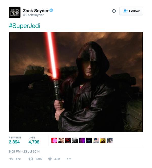 A montagem divulgada por Zack Snyder na qual o Super-Homem aparece como um Jedi (Foto: Twitter)