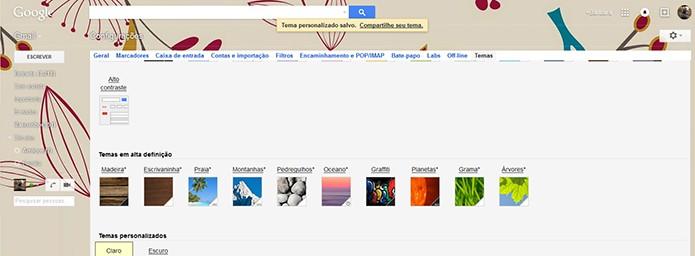 Tema personalizado aplicado no Gmail (Foto: Reprodução/Barbara Mannara)