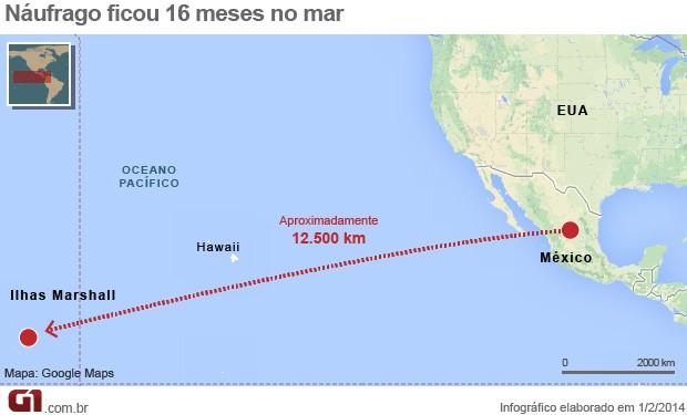 Mapa náufrago méxico (Foto: Arte/G1)