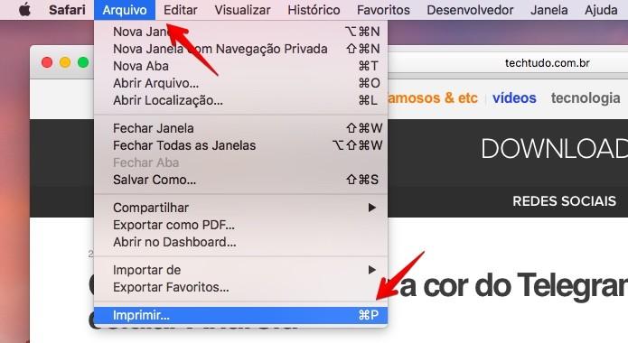 Imprimindo um documento no macOS (Foto: Reprodução/Helito Bijora)