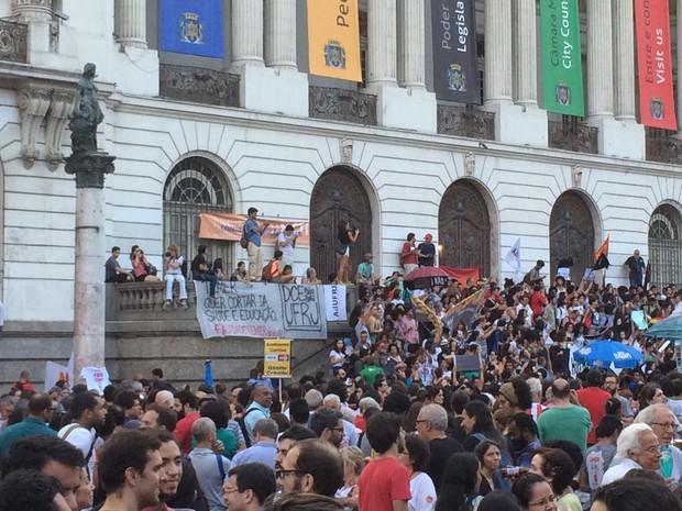 Protesto contra a PEC 241 ocupou a Cinelândia (Foto: Patrícia Teixeira/G1)