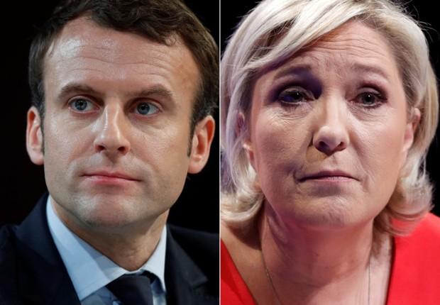 Uma montagem com as fotos dos candidatos à Presidência da França Emmanuel Macron e Marine Le Pen (Foto: Christian Hartmann/Reuters)