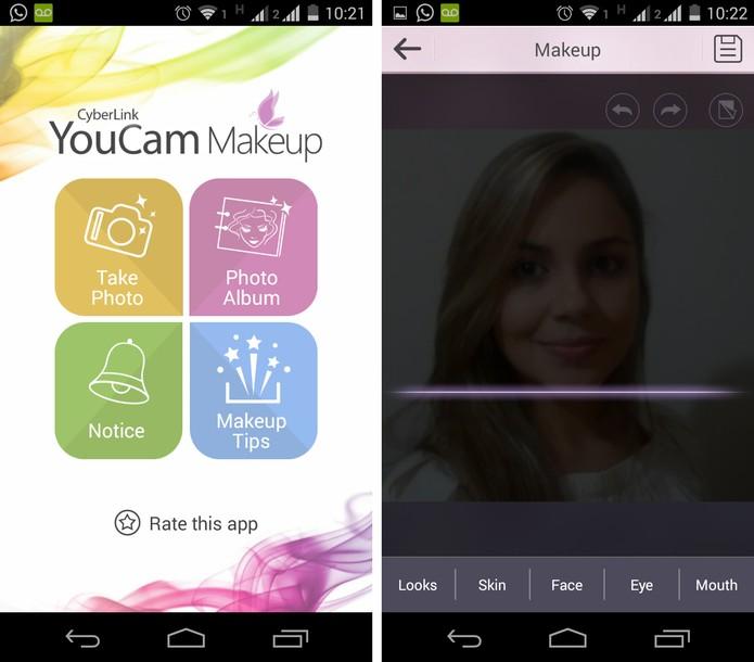 Interface inicial do YouCam Makeup (Foto: Reprodução/ Marcela Vaz)