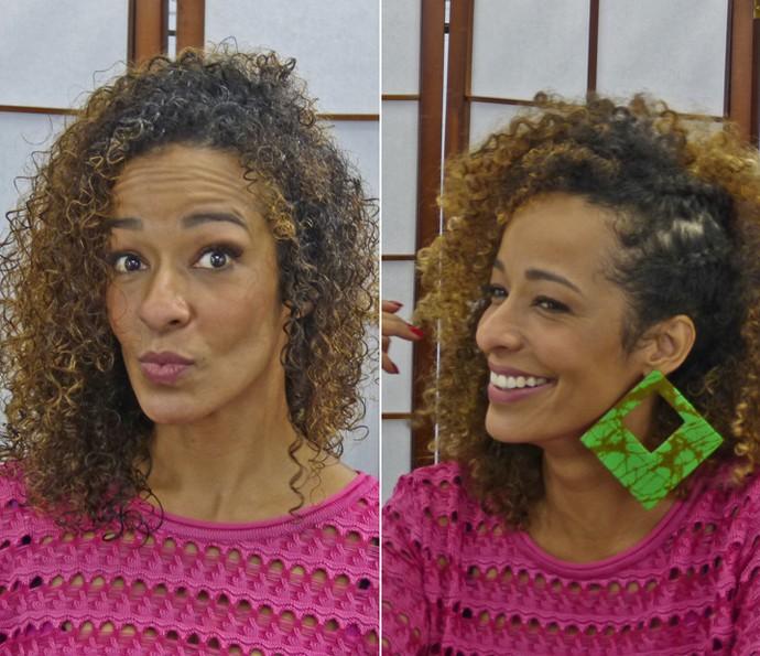 Antes e depois! Alinne Prado mostra os cabelos 'murchinhos' e do jeito que gosta mais armado (Foto: Brunella Menezes / Gshow)
