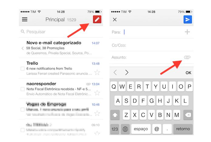 Acessando a ferramenta de rascunho do aplicativo do Gmail para iOS (Foto: Reprodução/Marvin Costa)