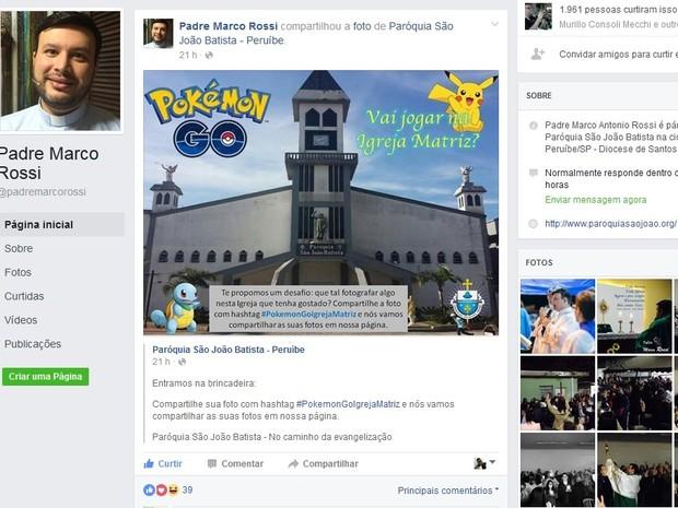 Padre compartilhou publicação da Igreja que é pároco (Foto: Reprodução/Facebook)