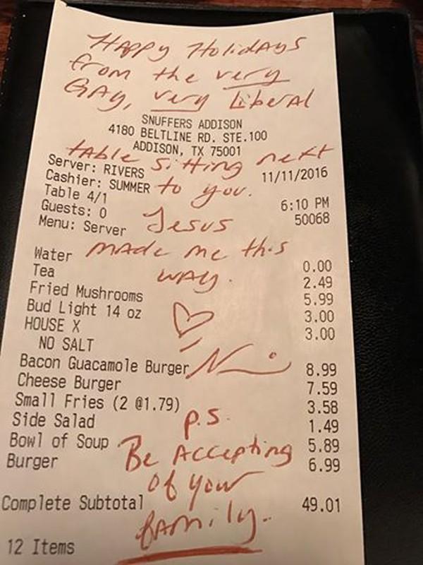 Americana escreve mensagem sobre tolerância em nota fiscal  (Foto: Reprodução / Faceboook)