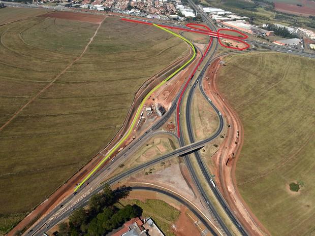 Vista aérea das obras e traçado do novo trevo de acesso a Barão Geraldo, em Campinas (Foto: Divulgação / Rota das Bandeiras)