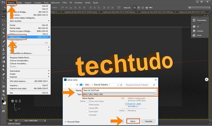 Salve o resultado do texto em 3D no computador pelo Adobe Photoshop (Foto: Reprodução/Bárbara Mannara)