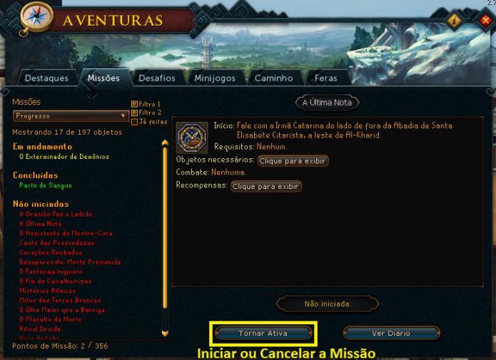 Para habilitar ou desabilitar uma missão, clique no botão Tornar Ativa (Foto: Reprodução/Paulo Vasconcellos)