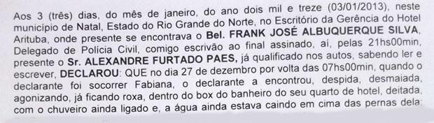 Trecho do último depoimento de Alexandre à polícia (Foto: Anderson Barbosa/G1)