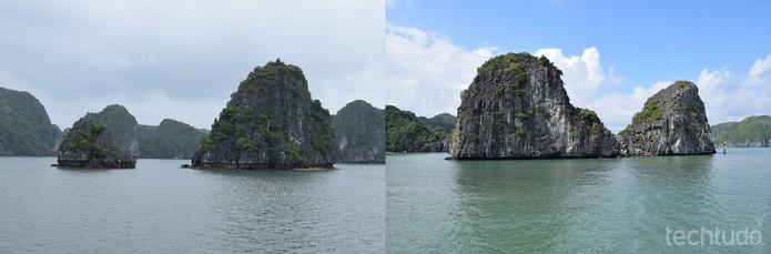 Revisitar o lugar às vezes faz toda a diferença; Halong Bay em um dia totalmente nublado e em outro, com o tempo mais aberto  (Foto: Juliana Pixinine/TechTudo)