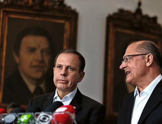 Doria e Alckmin após uma reunião dos gabinetes do Estado e da cidade de São Paulo (Foto:  Filipe Redondo/ÉPOCA)