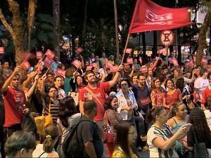 Protesto professores municipais Juiz de Fora (Foto: Reprodução/TV Integração)