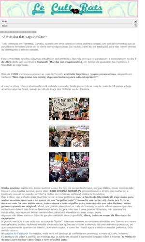 Texto no blog que teria sido escrito por Sara Winter (Foto: Reprodução)