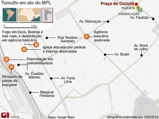 VALE ESSE Mapa de probelmas na manifestação do MPL em São Paulo  (Foto: Edoria de Arte/G1)