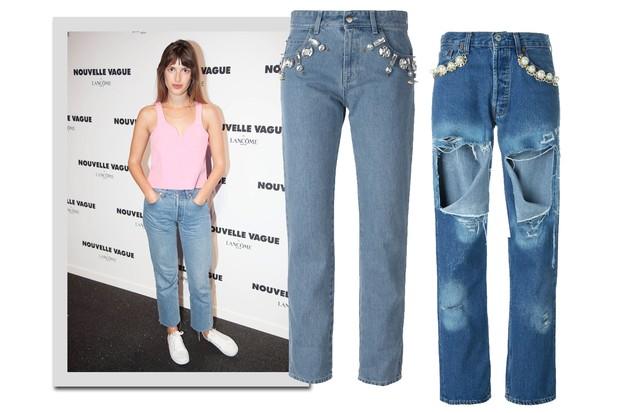Jeanne Damas e, jeans, Emanuel Ungaro, R$ 3.090; Forte Couture, R$ 2.750 (Foto: Instagram/Reprodução e Farfetch/Divulgação)