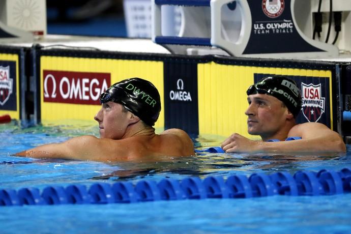 seletiva olímpico americana - Conor Dwyer e Ryan Lochte depois da eliminatória dos 200m livre (Foto: Erich Schlegel / USA Today / Reuters)