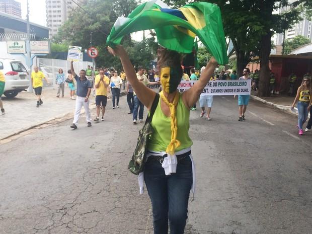 De rosto pintado, a administradora de empresas Estila Mendonça, de 59 anos, protesta em Goiânia, Goiás (Foto: Vitor Santana/G1)