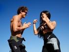 Olimpíada do EGO: Aline Riscado e Felipe Roque se desafiam no flyboard