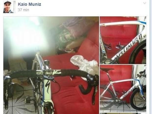Bicicleta roubada foi postada em uma página do Facebook (Foto: Reprodução / Facebook)