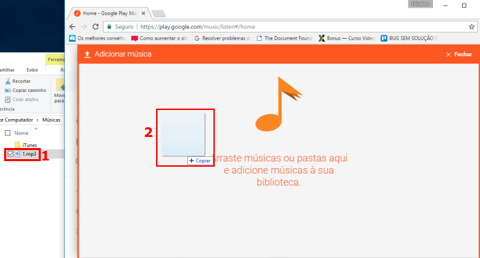 Arrastando músicas para fazer upload na Google Play Music (Foto: Reprodução/Edivaldo Brito)