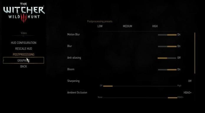 The Witcher 3: acesse o menu Postprocessing para alterar configurações gráficas (Foto: Reprodução/Paulo Vasconcellos)