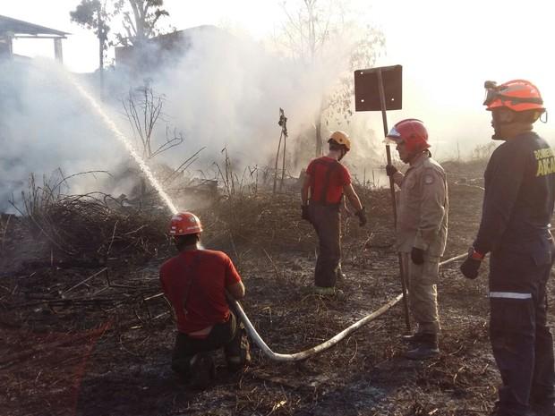 Doze bombeiros atuaram no controle das chamas (Foto: Divulgação/Bombeiros)