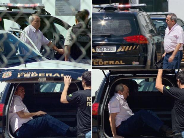 Ex-prefeito de Três Corações é levado para a Penitenciária em camburão da PF (Foto: Reprodução EPTV / Lucas Magalhães)