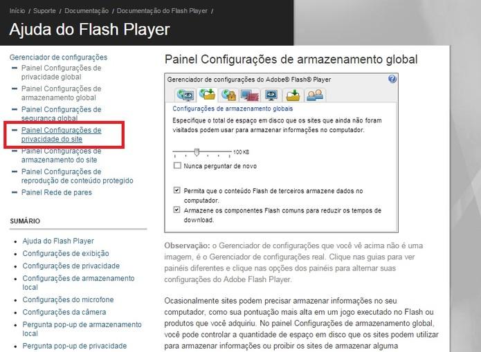 Selecione Painel Configurações de privacidade do site (Foto: Reprodução/Flash Player)