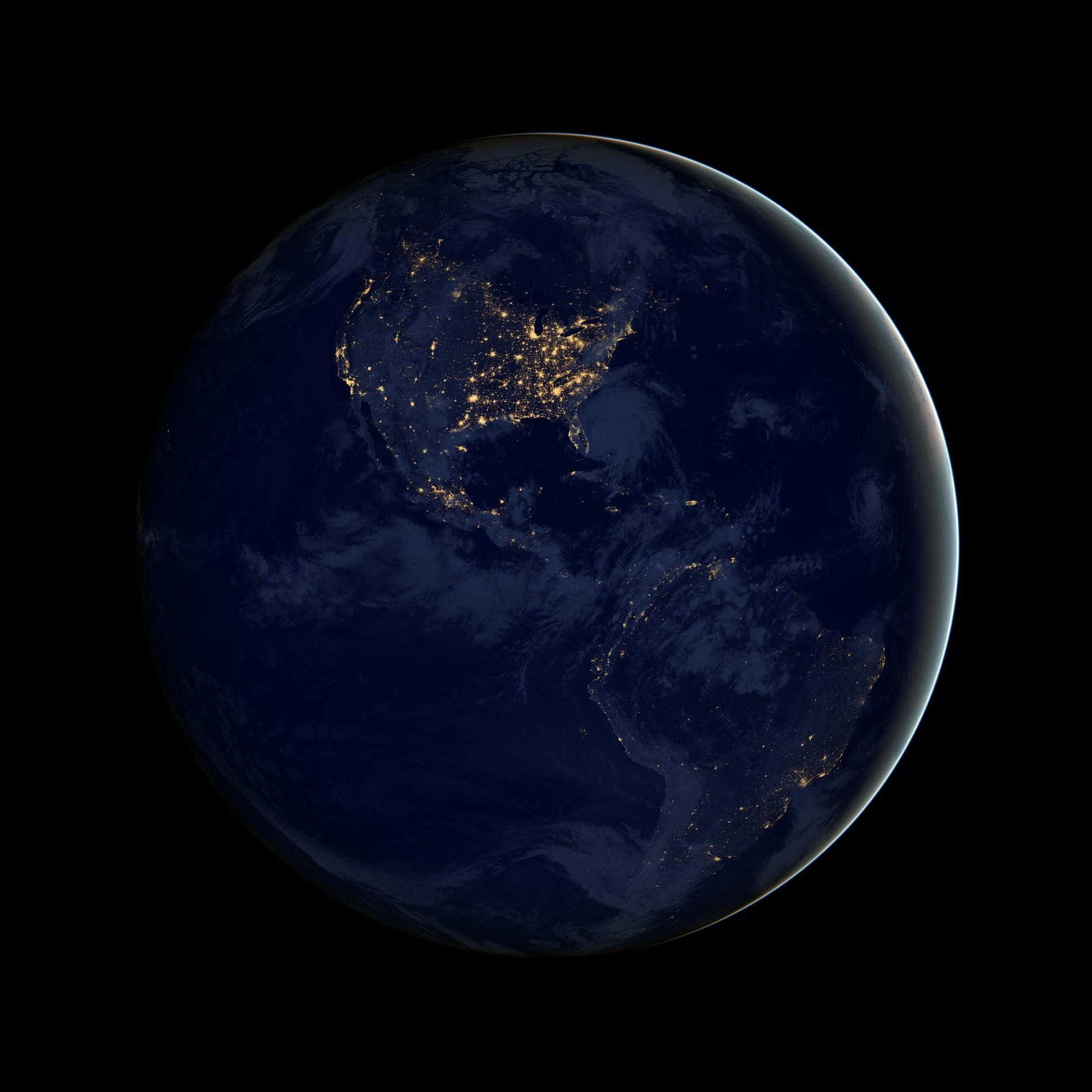 Poluição luminosa nas Américas: EUA são o país que mais sofre com o problema no mundo (Foto: NASA Earth Observatory/NOAA-NGDC)