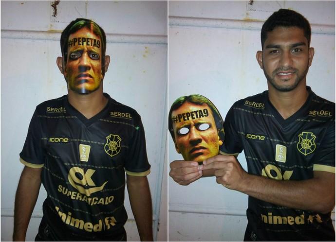 Pepeta é homenageado com uma máscara (Foto: Alex Brandão/Arquivo Pessoal)