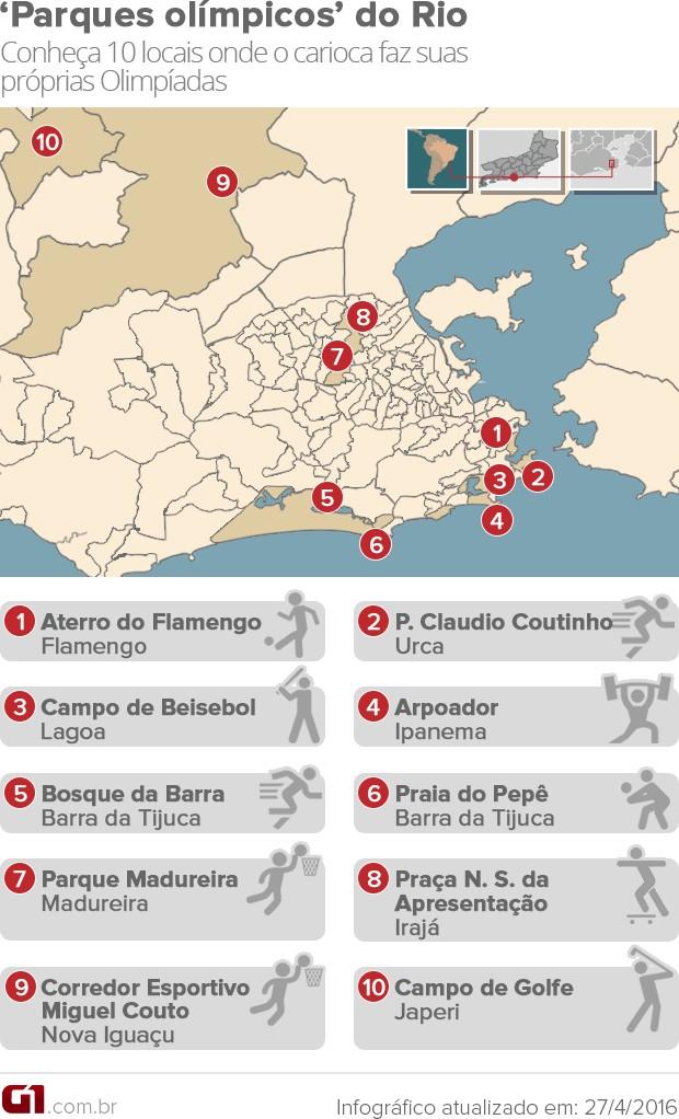 Mapa 100 dias Olimpíadas (Foto: Editoria de arte/G1)