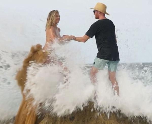 A atriz e modelo Kate Upton instantes antes de sua queda (Foto: Instagram)