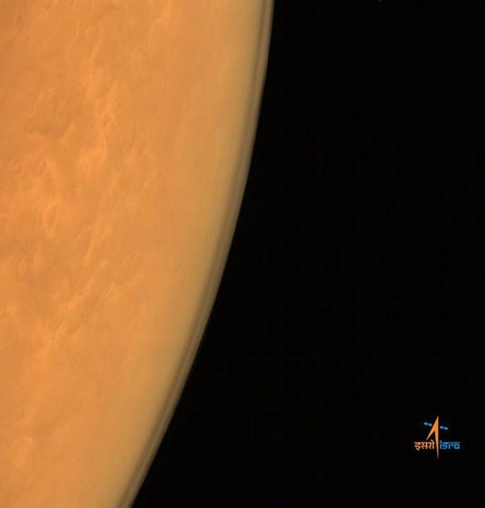 Foto de Marte feita pela sonda indiana MOM - Blog Observatório (Foto: Divulgação/ISRO)