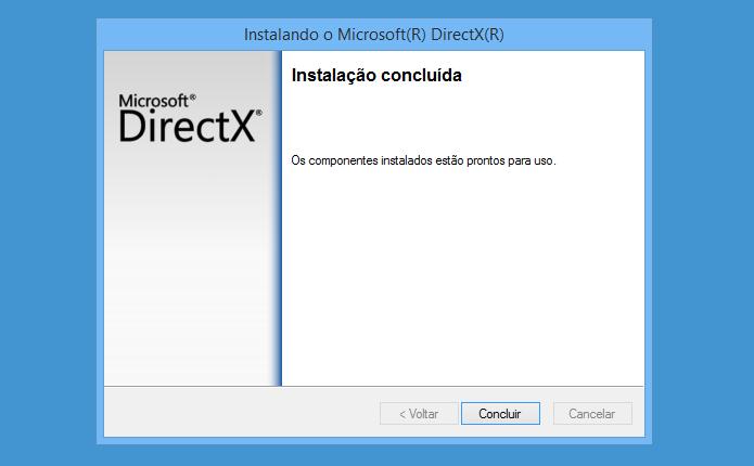 Atualização do DirectX instalada com sucesso (Foto: Reprodução/Helito Bijora)