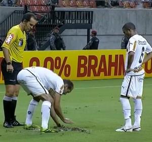 Rodrigo Souto arrumando gramado da Arena Amazônia (Foto: Reprodução/Sportv)